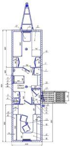 Вагон-дом на 4 человек с рабочим кабинетом